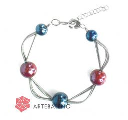 GM0032 Vendramin Браслет цвет синие сумерки-красный муранское стекло