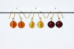 S1288/maz Серьги золото 3 цвета муранское стекло