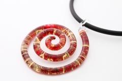 NV04 Подвеска Спираль Бонди' диам.5,5 см цвет красно-золотой