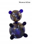 G/Медведь сине-золотой (выс. 11см) муранское стекло