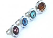RS04-A Кольцо с прозрачным краем муранское стекло разл.цвета