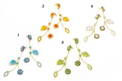 art.177 Серьги Leaves муранское стекло и стразы