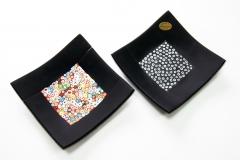 PNew 15x15 Блюдо черное с мурринами 2 цвета муранское стекло