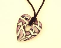 ZN02C Подвеска-сердце Леопард 7х7 см муранское стекло