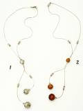 FB01 Колье легкое с тремя бусинами и кристаллами Сваровски муранское стекло