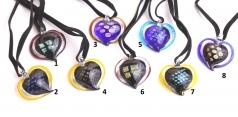 VY588 Подвеска сердце 3см различные цвета цветное стекло