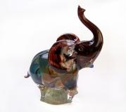 TP08 Скульптура Слон 24см с кальцедоном муранское стекло