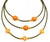 2013-38/maz(3) Колье Меконг трехрядное цвет коричнево-оранжевый муранское стекло