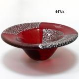 447/E Блюдо-ваза декоративное красное с золотом и серебром муранское стекло