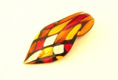 ZN03 Подвеска-листок Арлекино 4х8 см муранское стекло