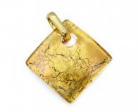 Арт.01 золотой - подвеска 3x3 см муранское стекло