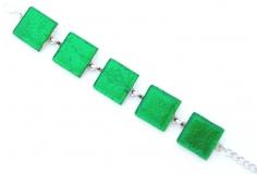 Арт.02 зеленый - браслет с 5 элементами 2х2см  муранское стекло