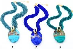 Vac/С7542 Колье Гемма на бисере сине-голубые цвета муранское стекло