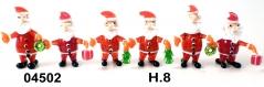 04502 Дед Мороз с подарками 8 см сет 6 шт