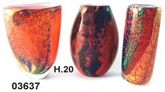 SM03637 Ваза красная стеклянная с имитацией кальцедона 3 формы