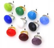 VM0550 Кольцо на металлической основе 10 цветов муранское стекло
