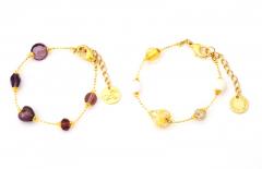 Vac/B9033 Браслет Нежность цвет аметист и бело-золотой муранское стекло