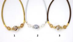 Vac/С9695/M Колье ШАР c кристаллами (золото, серебро, медь) 42+5 см  муранское стекло
