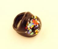 PM04 Кольцо черное Арлекино муранское стекло