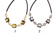 Vac/G4 Колье ABC на коже с золотом или серебром 45+5 см муранское стекло
