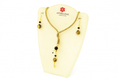 Vac/Box set1 Колье-трансформер 65 см + серьги черно-золотые бусины с филигранью муранское стекло
