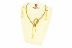 Vac/Box set3 Колье-трансформер 65 см + серьги бусины слоновая кость-золото с филигранью муранское стекло