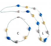 GM001 Soranzo Колье длинное L 100см цвет серо-голубой муранское стекло