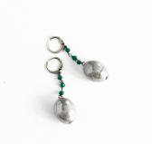 GM004 Soranzo Серьги цвет серо-зеленый муранское стекло