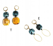 GM0022 Thetis Серьги -Е- цвет охристо-черный муранское стекло