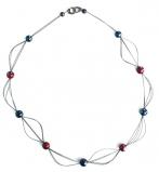 GM0030 Vendramin Колье длинное L 90см цвет синие сумерки-красный муранское стекло