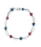 GM0031 Vendramin Колье короткое 50см цвет синие сумерки-красный муранское стекло