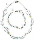 GM0030 Vendramin Колье длинное -L- 90см цвет слоновая кость-голубая сталь муранское стекло