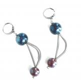 GM0033 Vendramin Серьги цвет синие сумерки-красный муранское стекло